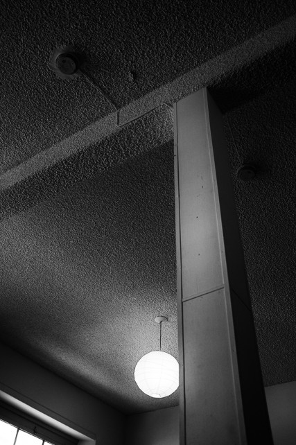 black and white wall interior of backpackers photo